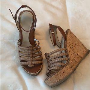 Tan wedge sandals